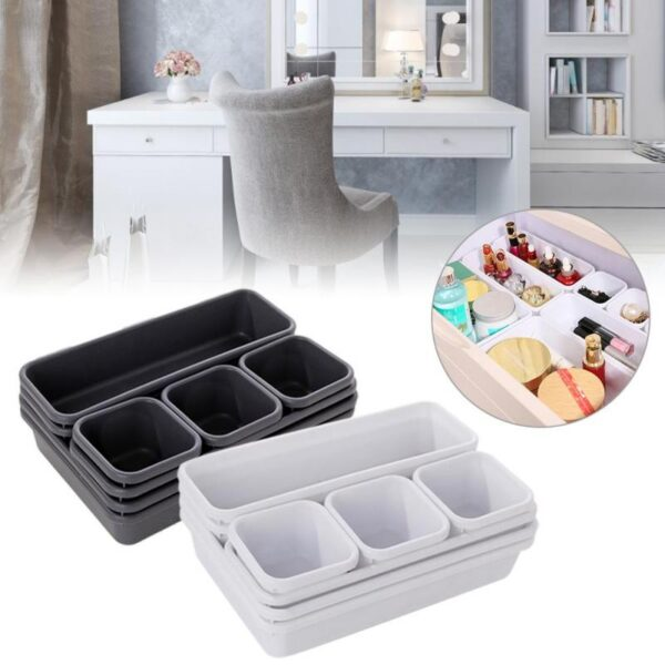 8pcs / Set Home Drawer Organizer Box Storage Trays Box Office Storage Kitchen Bathroom Cupboard Jewelry Makeup Desk Organization