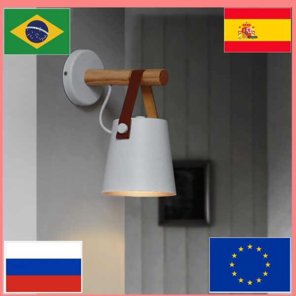 Modern minimalist adjustable wall-mounted household bedside lighting wall decoration bathroom mirror lamp LED wood wall lamp E27