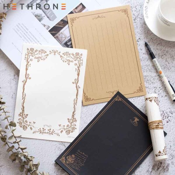 Hethrone 8sheets High-end Vintage Style Writing Paper wedding Holiday invitation letter paper Culture Stationery Storage Paper G