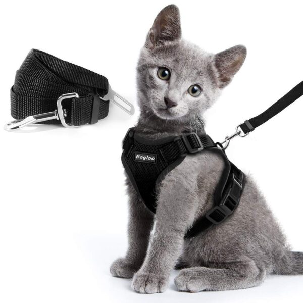Escape Proof Cat Vest Harness and Car Seat Belt Adapter Adjustable Reflective Harness Soft Mesh Vest Harness for Kitten Puppy