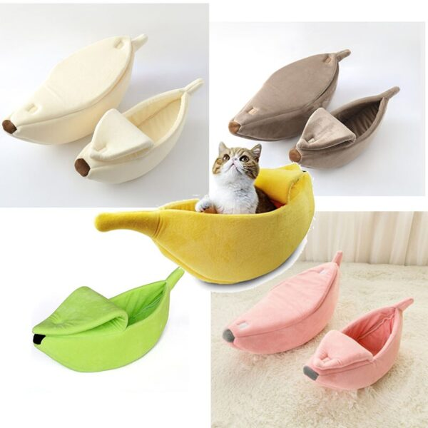 SHUANGMAO Creative Banana Shape Pet Cat Bed litter for Mat Durable Kennel Puppy Dog Cushion Basket Warm Cats Portable Supplies