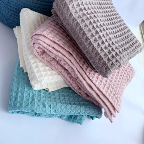 Cotton Waffle Plaid Summer Blanket for Sofa Bed Towel Quilt Women Wrap Blanket Nap Blankets Throw Blanket for Car Office