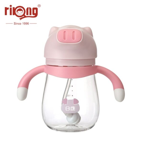 Rikang 250ml Baby Water Bottle Sippy Cup Children Gobelet Feeding Water Bottle Baby Cup with Straw Animal for Kids