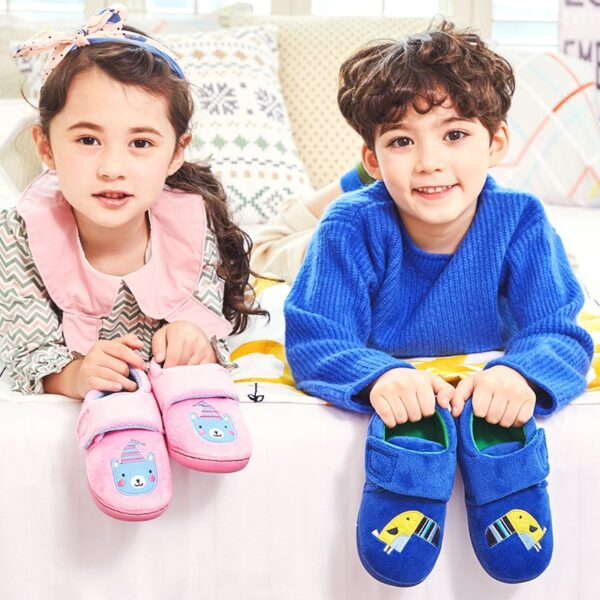 Cartoon Dog Kids Slippers Girl Boys Winter Warm Slippers Cotton Children Home Shoes Baby Candy Colored Cotton Shoes