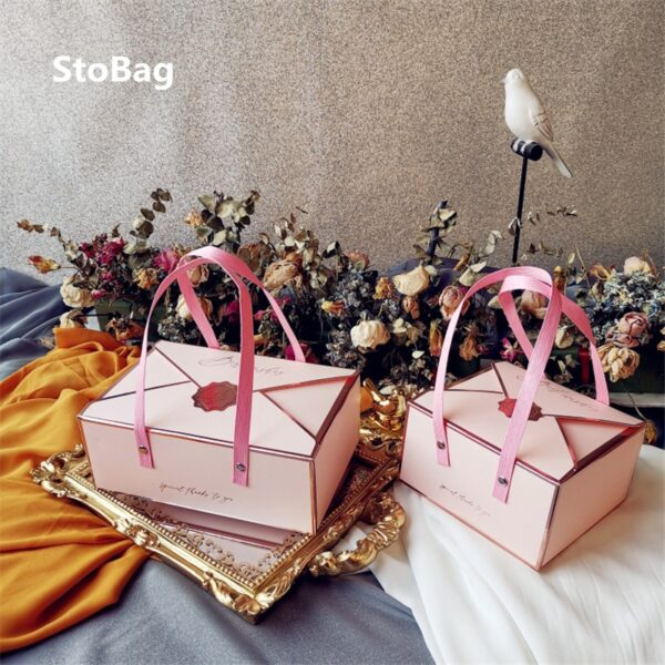 StoBag 5pcs Wedding Birthday Gift Box Baked Bread Hand Box Biscuit Candy Chocolate Handmade Baby Show Cake Decorating Supplies