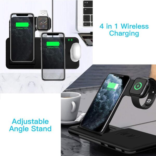 4 in 1 Qi 15W Fast Wireless Charger For iPhone 8 X XR XS 11 Pro Max 3 in 1 Wireless Charging Station For Apple Watch Airpods Pro