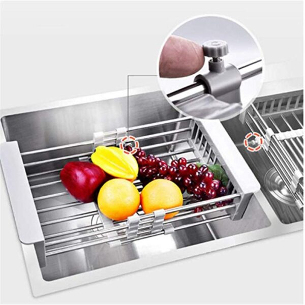 Stainless Steel Dish Drainer Adjustable Arms Holder Functional Kitchen Sink Organizer Vegetable Fruit Drying Dish Rack