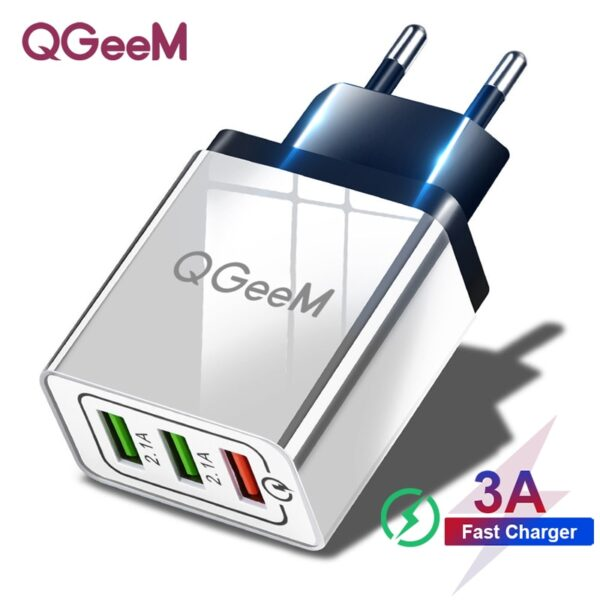 QGEEM USB Charger for Xiaomi Mi9 iPhone X EU US Plug QC 3.0 3 USB Fast Phone Charger Quick Charge 3.0 Portable Charging Adapter