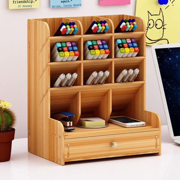 Wooden Desk Organizer Multi-Functional DIY Pen Holder Box Desktop Stationary Home Office Supply Desktop Storage Rack