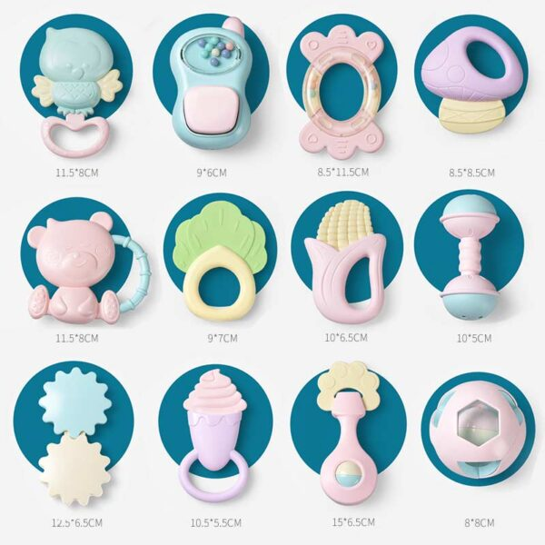 11-16Pcs Baby Rattle 0-12 Months Newborn Soft Bell Teethers Hand Shaking Crib Mobile Ring Educational Toy For Children Set Gifts