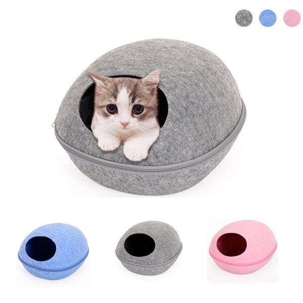 Cat Bed Pet Egg Shape Cave Sleeping Bag Zipper Kennel Felt Cloth Basket Lovely Kitten Beds Nest Cats House For Pets Products M/l