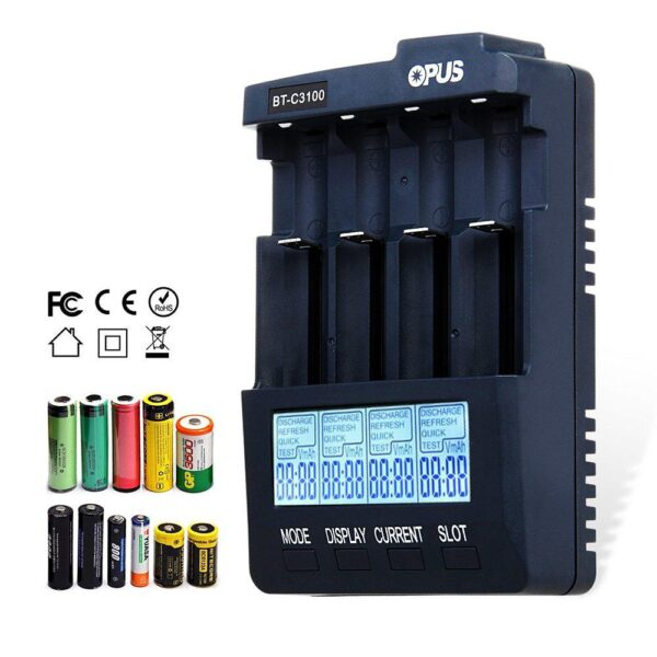 Opus BT-C3100 V2.2 Smart Digital Intelligent Battery Charger 4 Slots AA/AAA LCD Universal Battery Charger Lithium 10440 18650