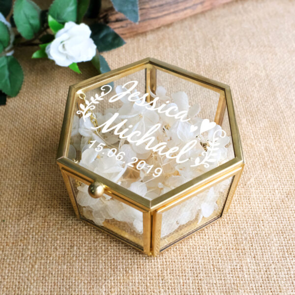 Peraonalized Wedding Gift Glass Wedding Ring Box Geometric Ring Bearer Box Antiqued Flower Glass Ring Holder