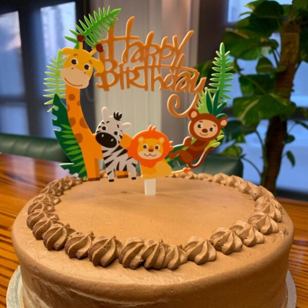 1pcs Happy Birthday Jungle Animal Cake Topper Birthday Party Decorations Kids Cupcake Toppers Jungle party 1st Birthday Supplies
