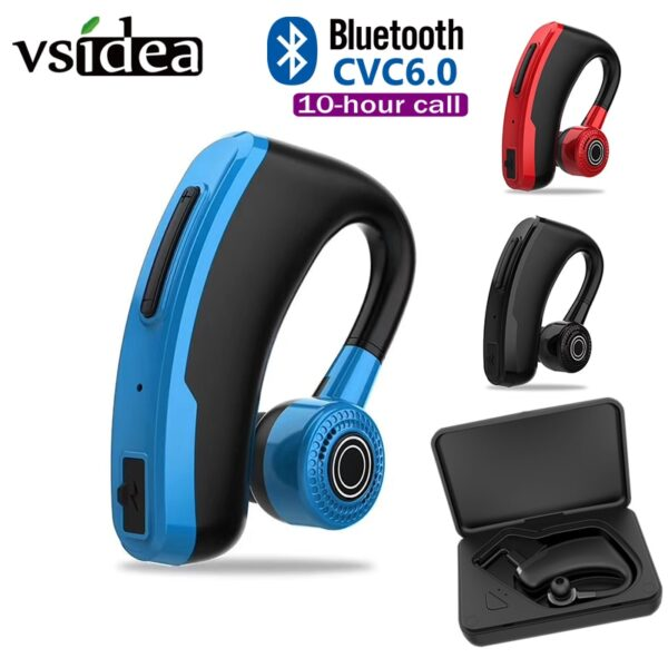 V10 Business Bluetooth Headphone Fast Charging Driver Handsfree Earphone with Mic Voice command Noise Cancelling For ALL PHONE