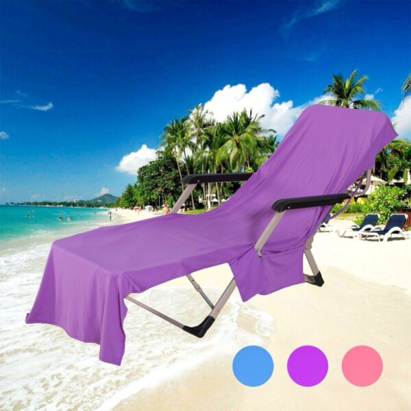Beach Towel Adults Sun Lounger Bed Holiday Garden Swimming Pool Lounge Pockets Carry Bag Chairs Cover Bath Towel
