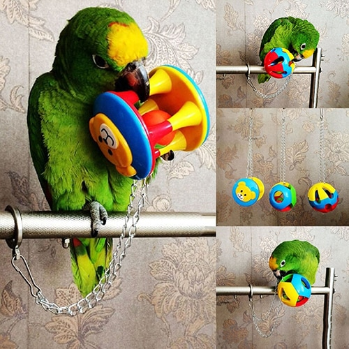 Cute Pet Bird Plastic Chew Ball Chain Cage Toy for Parrot Cockatiel Parakeet