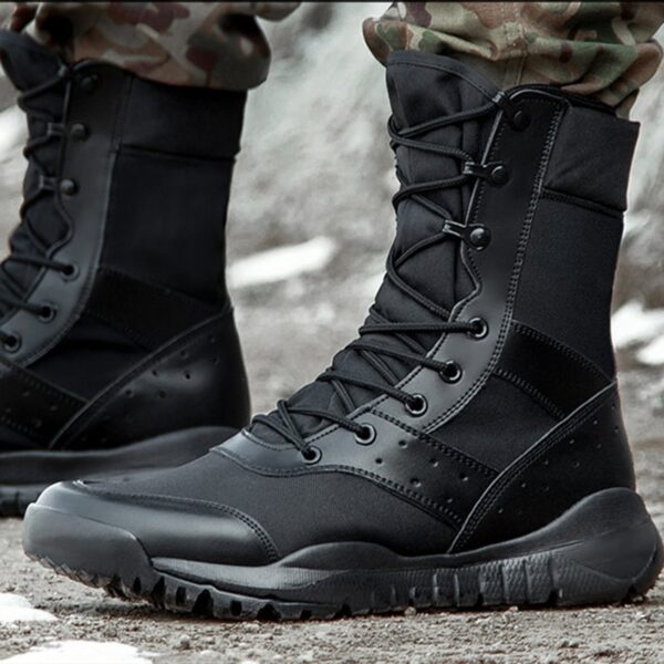Summer Combat Boot Men Women Climbing Training Lightweight Waterproof Tactical Boots Outdoor Hiking Breathable Mesh Army Shoes