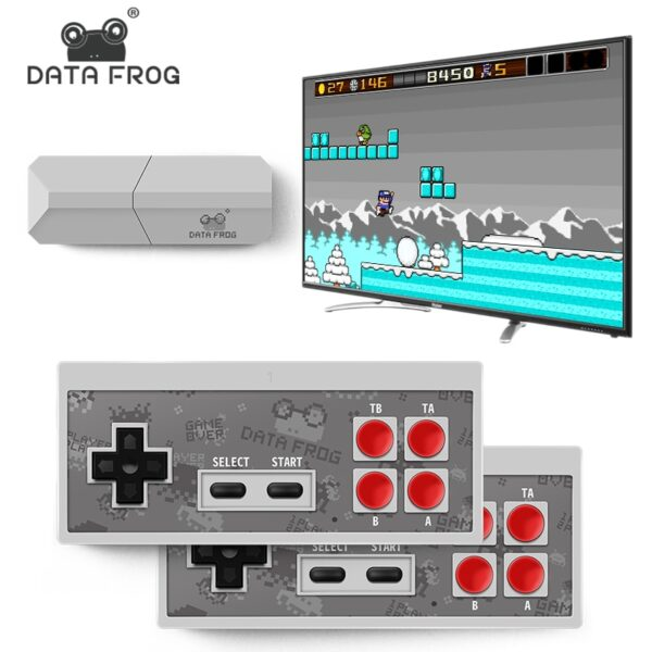 Data Frog New Video TV Game Console 8 Bit Built-in 1400 Classic Retro Games Potable Mini Wireless Controller AV/HDMI Output