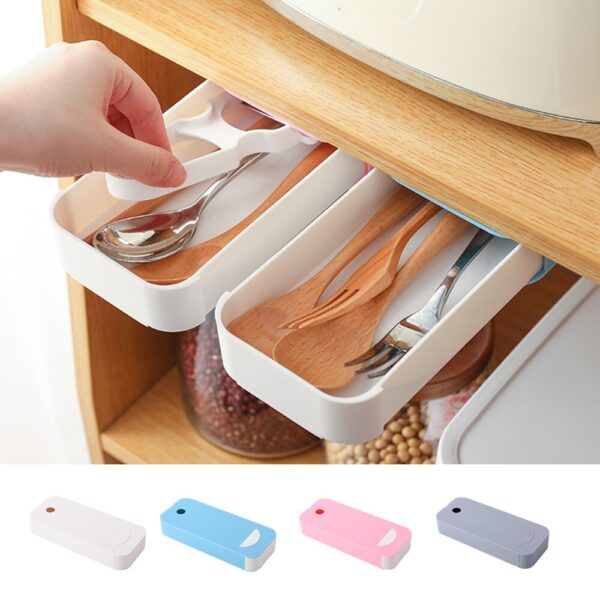 Hidden Table Under Paste Plastic Desk Organizer Memo Pen Stationery Storage Box Case Desk Drawer Divider Stationery Sticky Decal