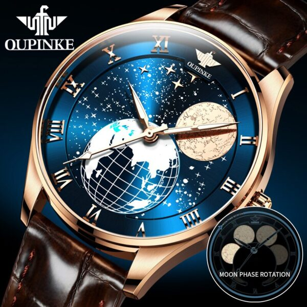 OUPINKE Men's Mechanical Moon Phase Wirstwatches Waterproof Top Brand Luxury Automatic Mens watches Sapphire Relogio Masculino