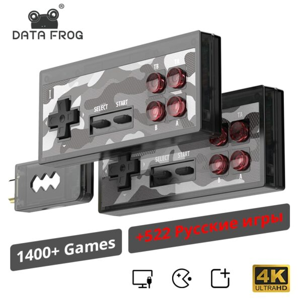 DATA FROG 4K Video Game Console Built in 1400+ Classic NES Games Wireless Controller 8 Bit HDMI Retro Mini Console Dual Player