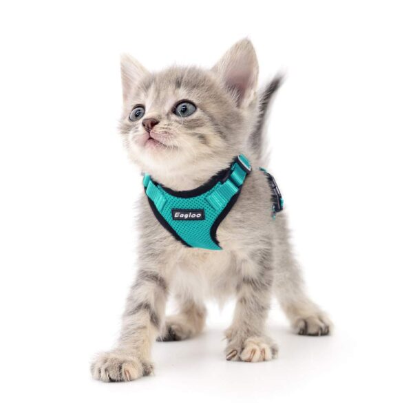 Cat Vest Harness Escape Proof Collar Harnesses Adjustable Cat Jacket with Reflective Strip Padded Vest for Small Medium Cat Dog